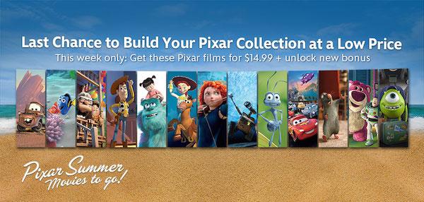 Last Week To Get Your Favorite Pixar Films From Disney