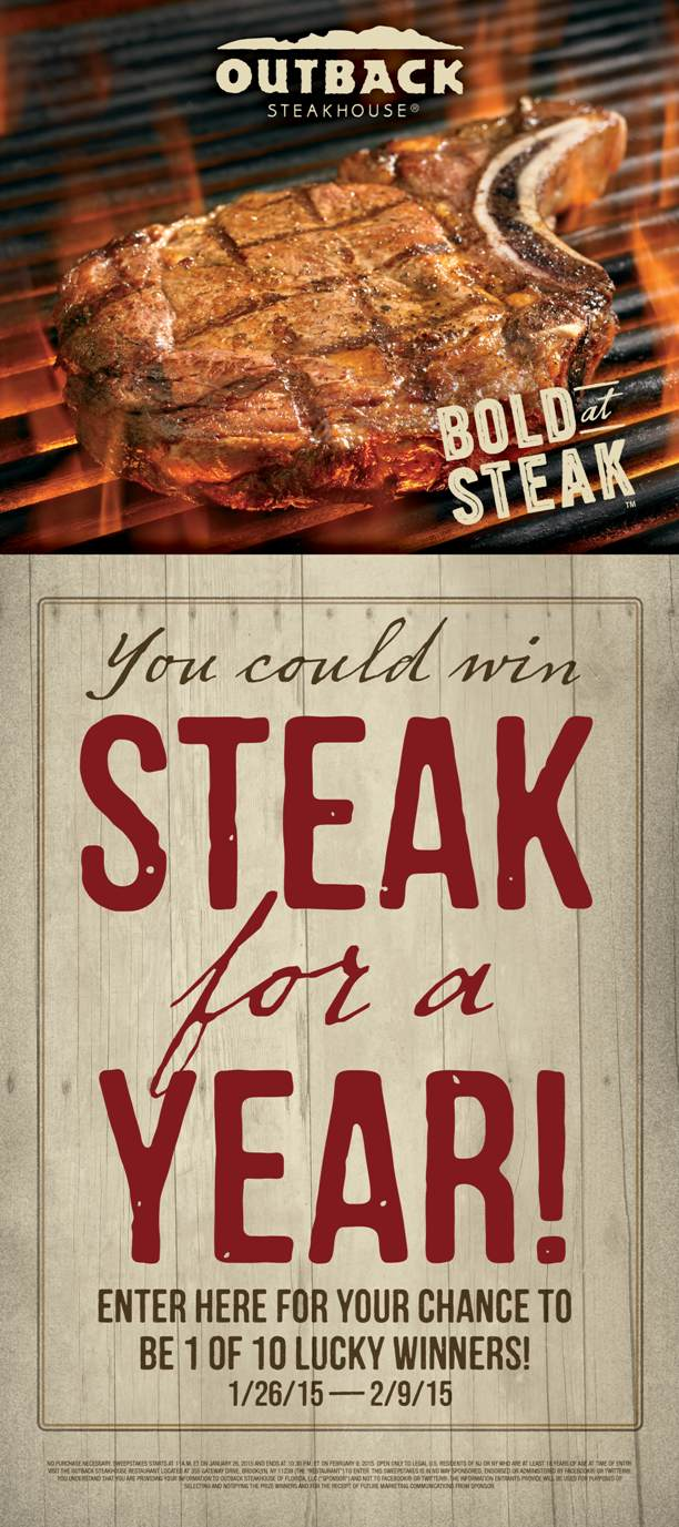 Steak for a year at Outback