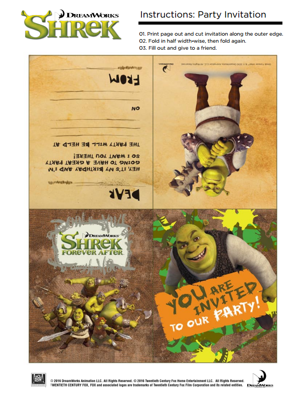 Shrek Invitation